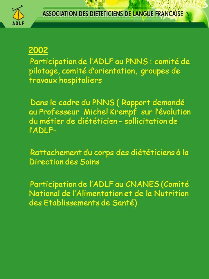 2002 Participation de l'ADLF au PNNS : comité de pilotage, comité d'orientation, groupes de travaux hospitaliers.