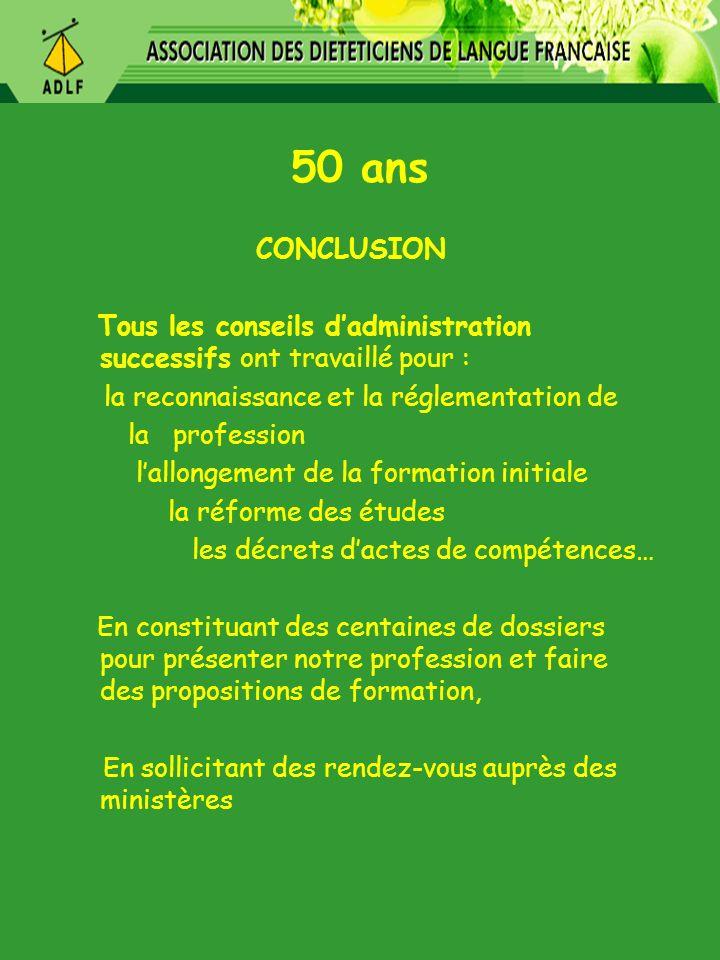 50 ans CONCLUSION. Tous les conseils d'administration successifs ont travaillé pour : la reconnaissance et la réglementation de.