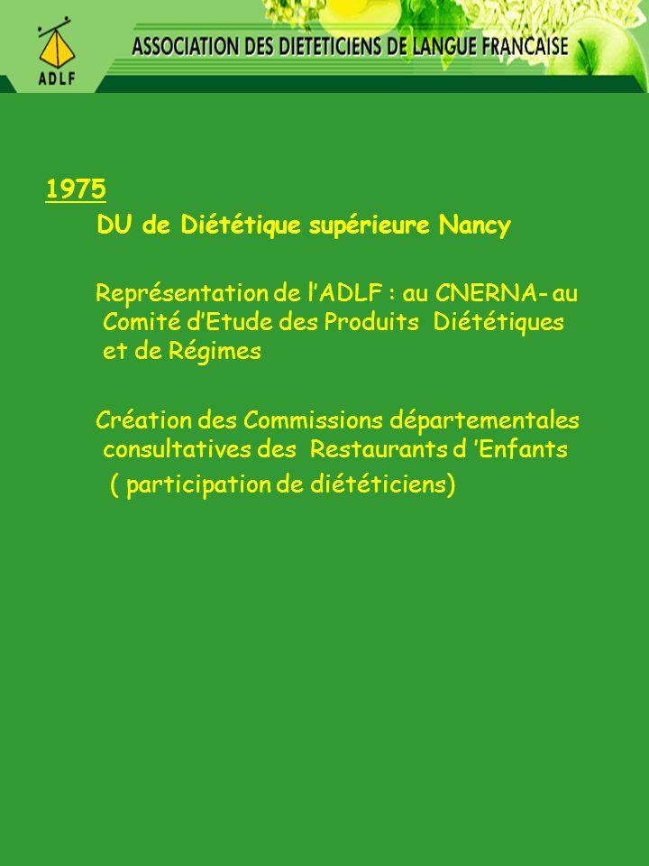 1975 DU de Diététique supérieure Nancy
