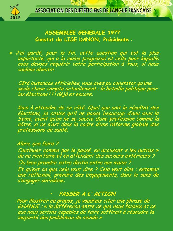 Constat de LISE DANON, Présidente :
