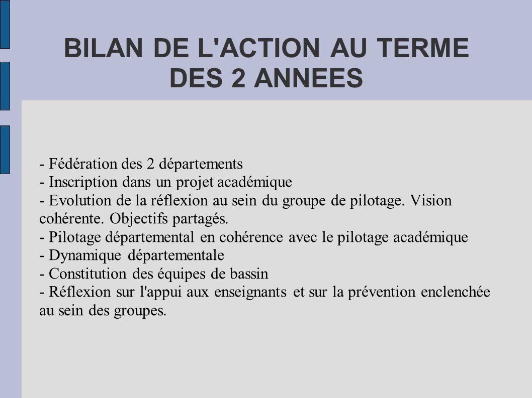 BILAN DE L ACTION AU TERME DES 2 ANNEES