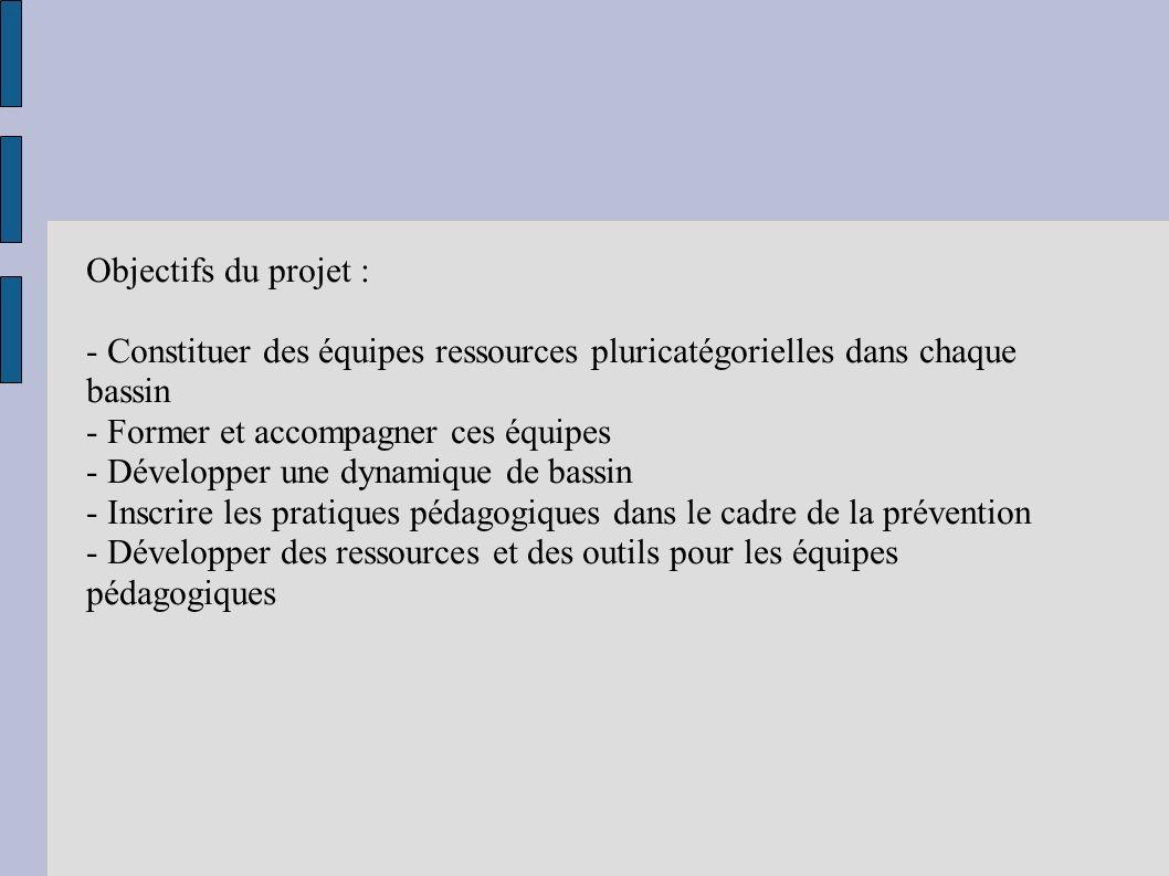Objectifs du projet : - Constituer des équipes ressources pluricatégorielles dans chaque bassin. - Former et accompagner ces équipes.