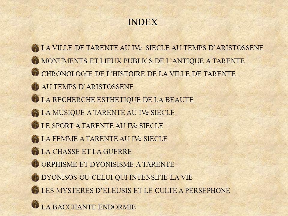 INDEX MONUMENTS ET LIEUX PUBLICS DE L'ANTIQUE A TARENTE