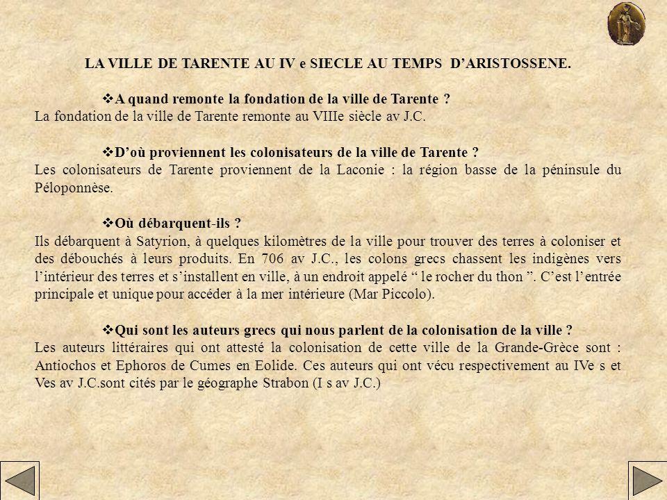 LA VILLE DE TARENTE AU IV e SIECLE AU TEMPS D'ARISTOSSENE.