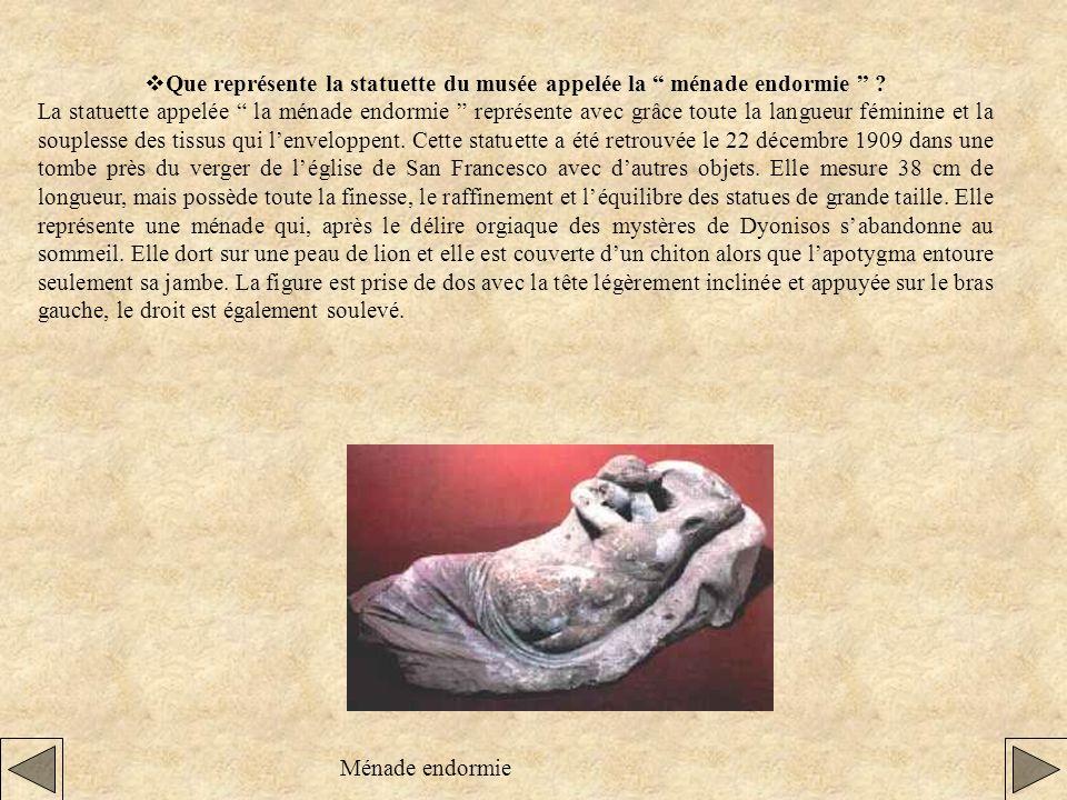 vQue représente la statuette du musée appelée la ménade endormie