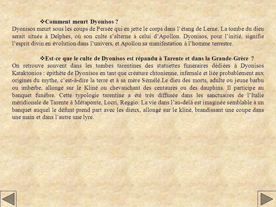 vComment meurt Dyonisos