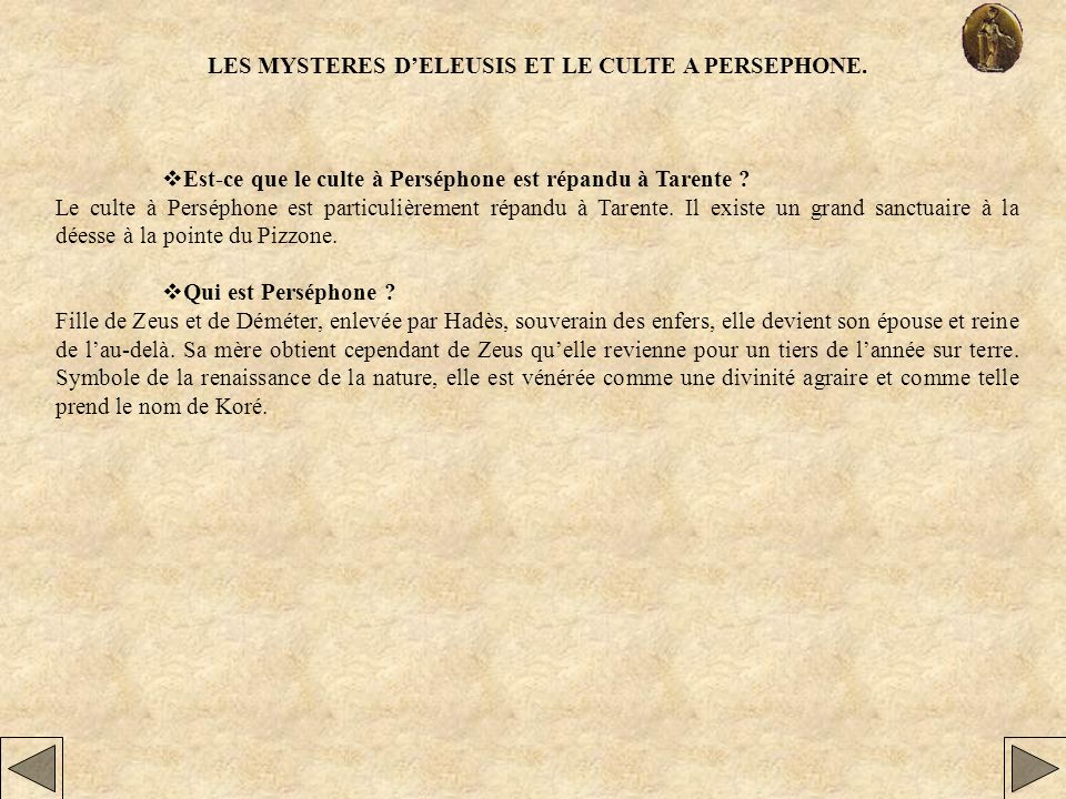 LES MYSTERES D'ELEUSIS ET LE CULTE A PERSEPHONE.