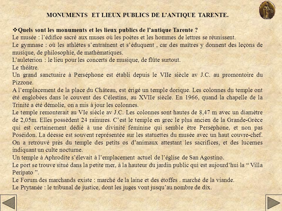 MONUMENTS ET LIEUX PUBLICS DE L'ANTIQUE TARENTE.