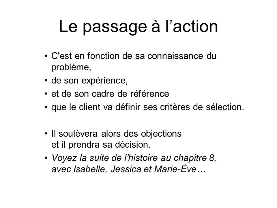 Le passage à l'action C est en fonction de sa connaissance du problème, de son expérience, et de son cadre de référence.