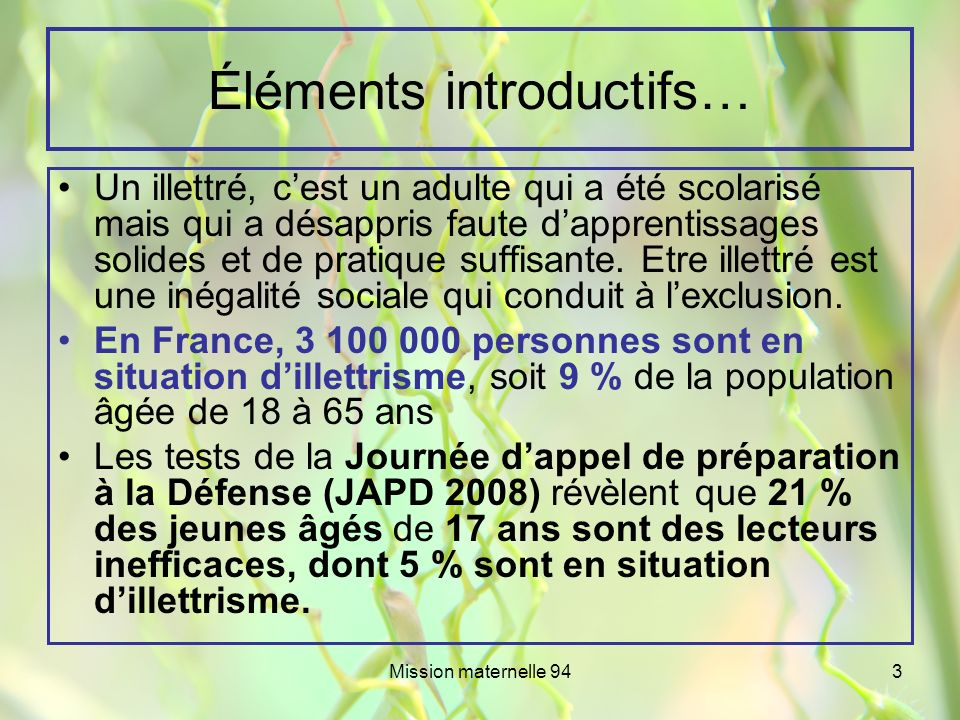 Éléments introductifs…