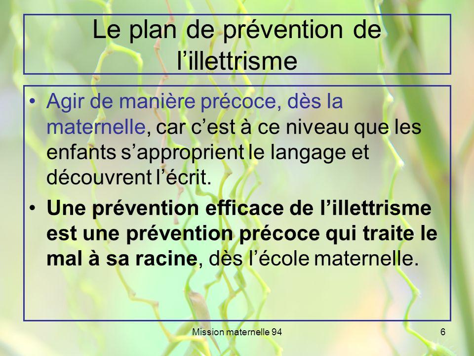 Le plan de prévention de l'illettrisme