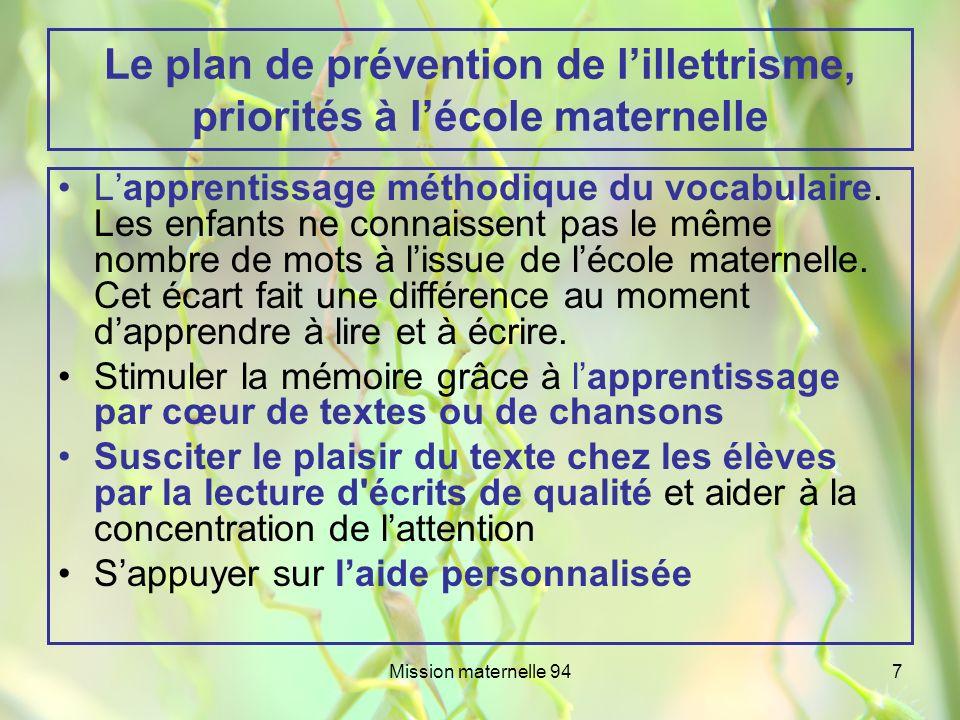 Le plan de prévention de l'illettrisme, priorités à l'école maternelle