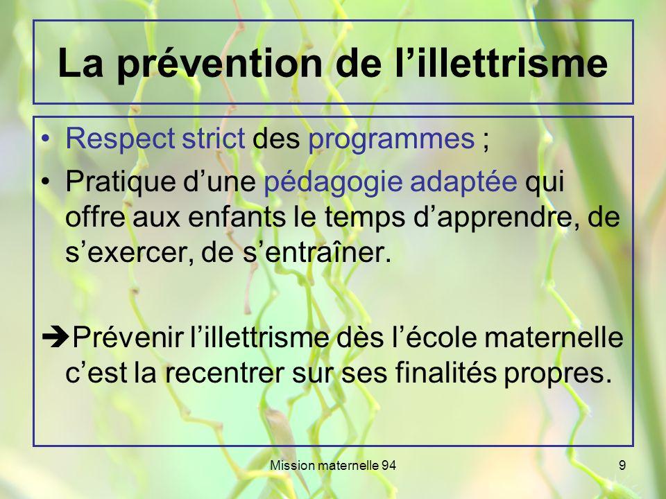 La prévention de l'illettrisme
