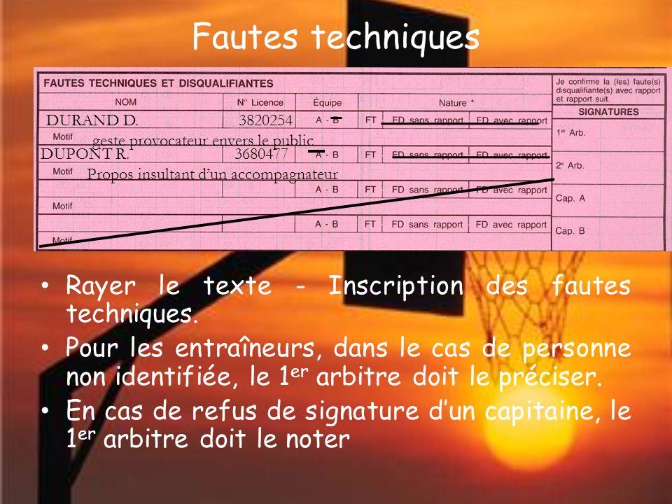 Fautes techniques Rayer le texte - Inscription des fautes techniques.