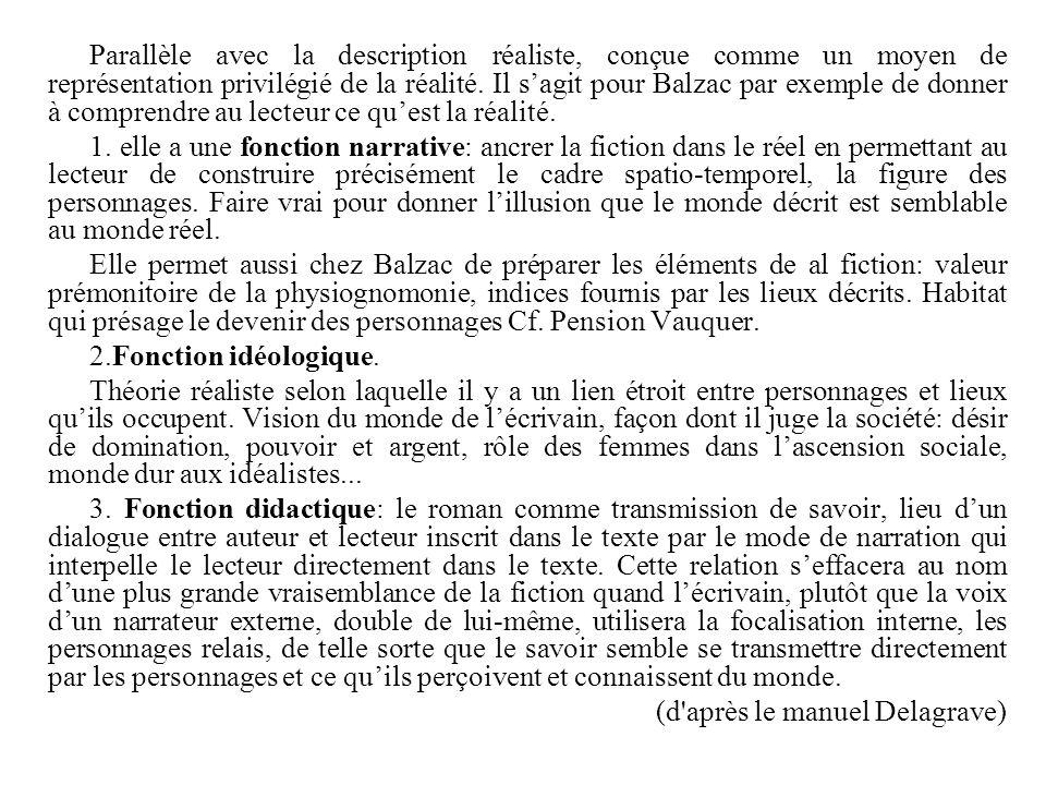 Parallèle avec la description réaliste, conçue comme un moyen de représentation privilégié de la réalité. Il s'agit pour Balzac par exemple de donner à comprendre au lecteur ce qu'est la réalité.