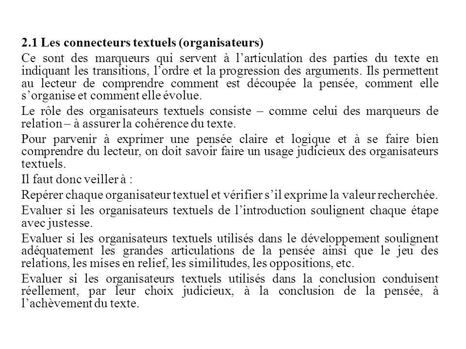 2.1 Les connecteurs textuels (organisateurs)