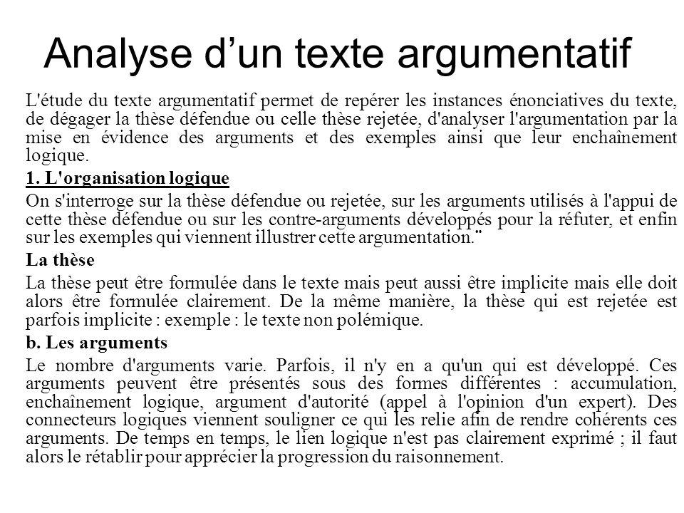 Analyse d'un texte argumentatif