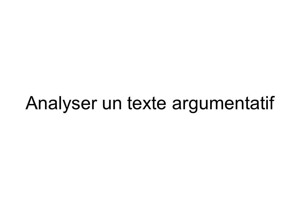 Analyser un texte argumentatif