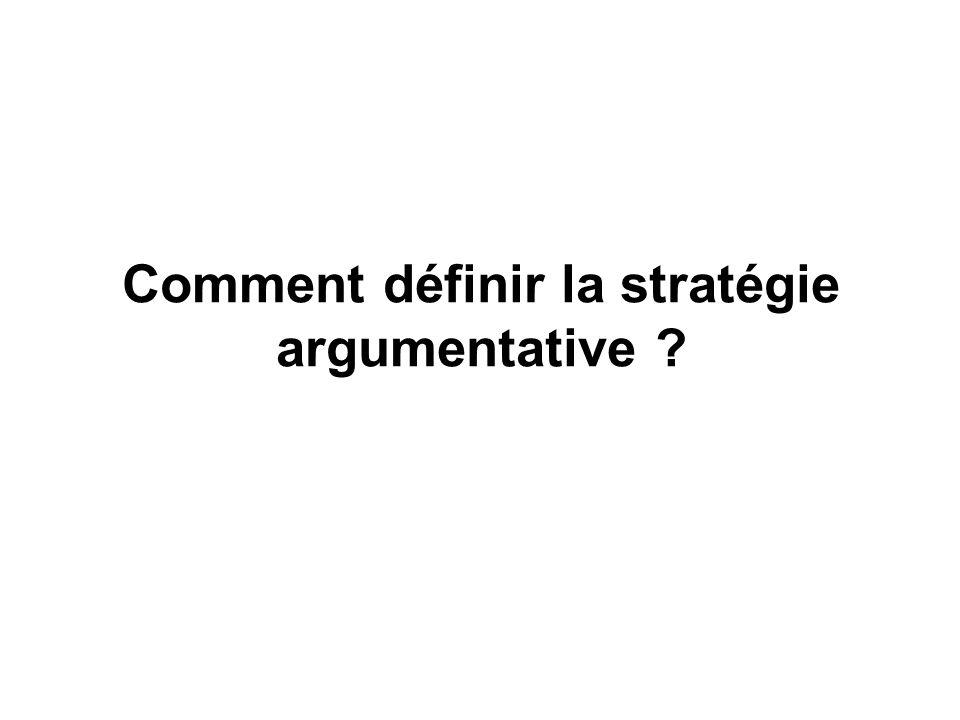 Comment définir la stratégie argumentative