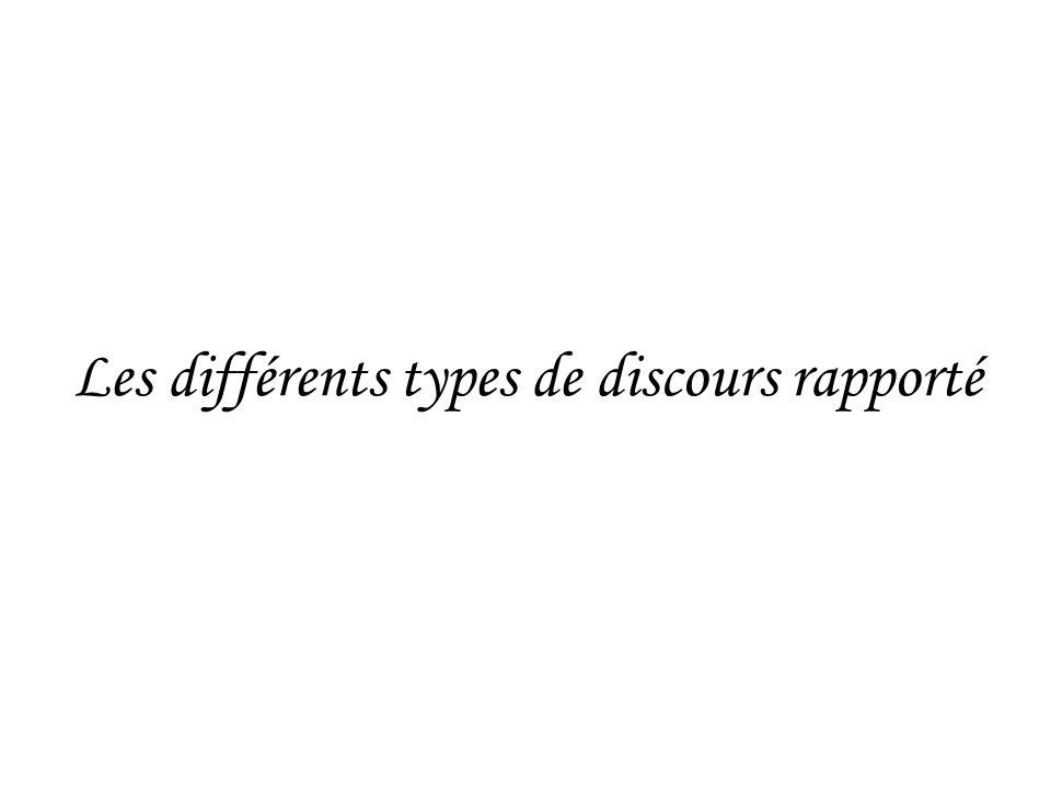 Les différents types de discours rapporté