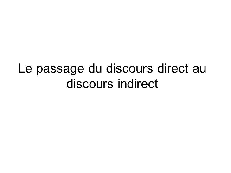 Le passage du discours direct au discours indirect