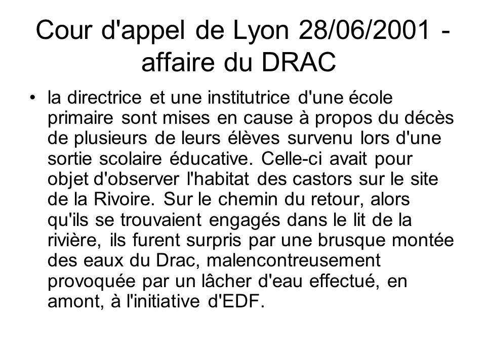 Cour d appel de Lyon 28/06/2001 - affaire du DRAC