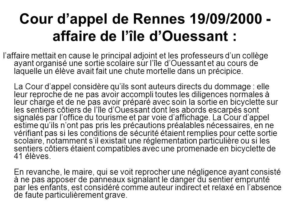 Cour d'appel de Rennes 19/09/2000 - affaire de l'île d'Ouessant :