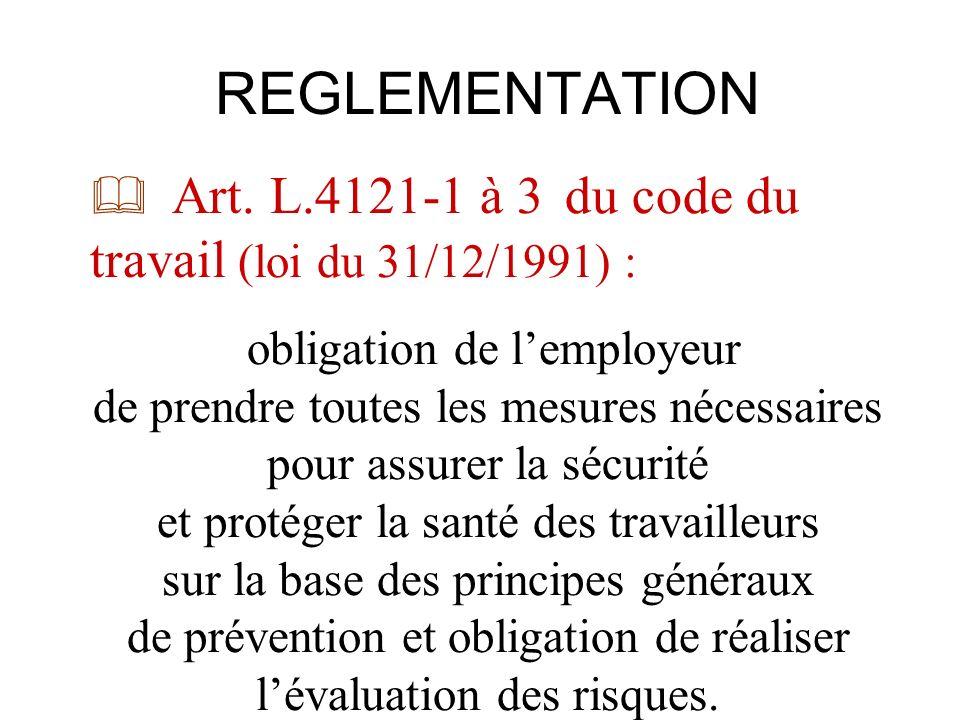 REGLEMENTATION Art. L.4121-1 à 3 du code du travail (loi du 31/12/1991) :