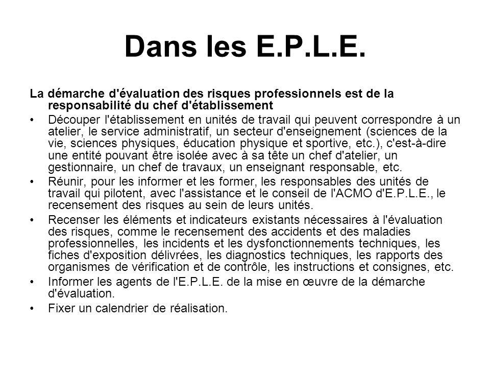 Dans les E.P.L.E. La démarche d évaluation des risques professionnels est de la responsabilité du chef d établissement.