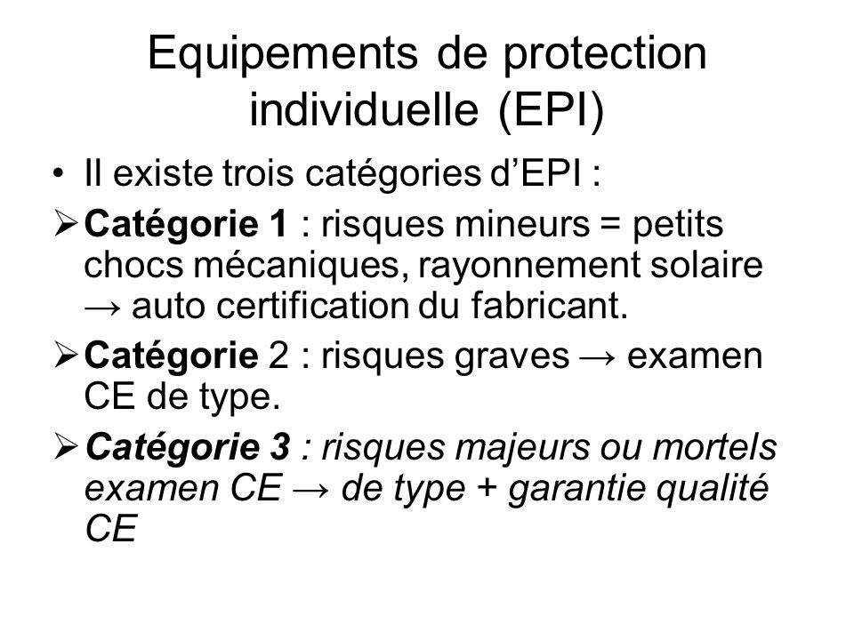 Equipements de protection individuelle (EPI)