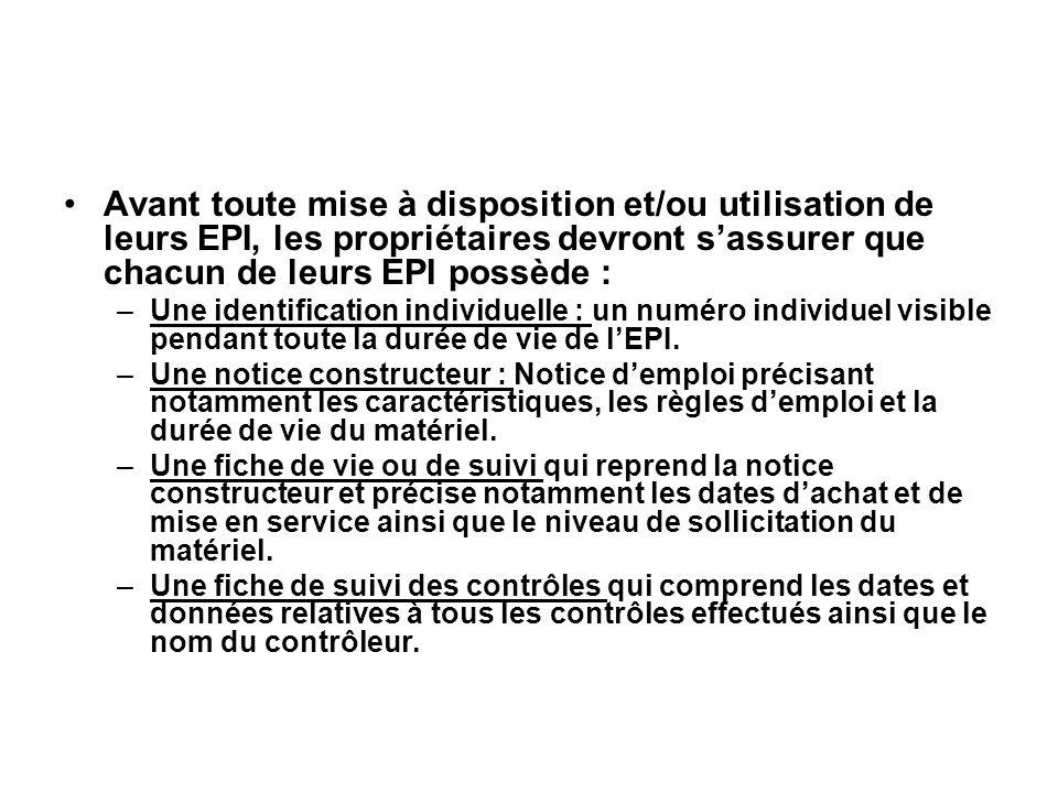 Avant toute mise à disposition et/ou utilisation de leurs EPI, les propriétaires devront s'assurer que chacun de leurs EPI possède :