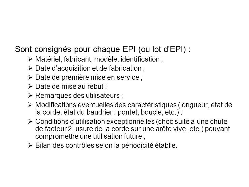 Sont consignés pour chaque EPI (ou lot d'EPI) :