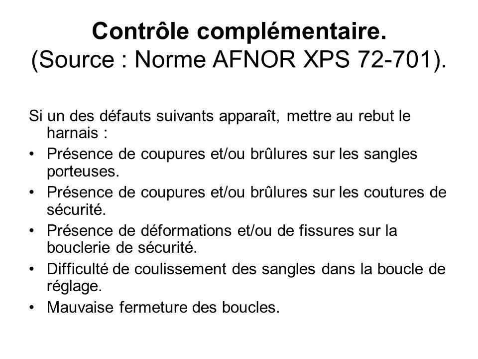 Contrôle complémentaire. (Source : Norme AFNOR XPS 72-701).
