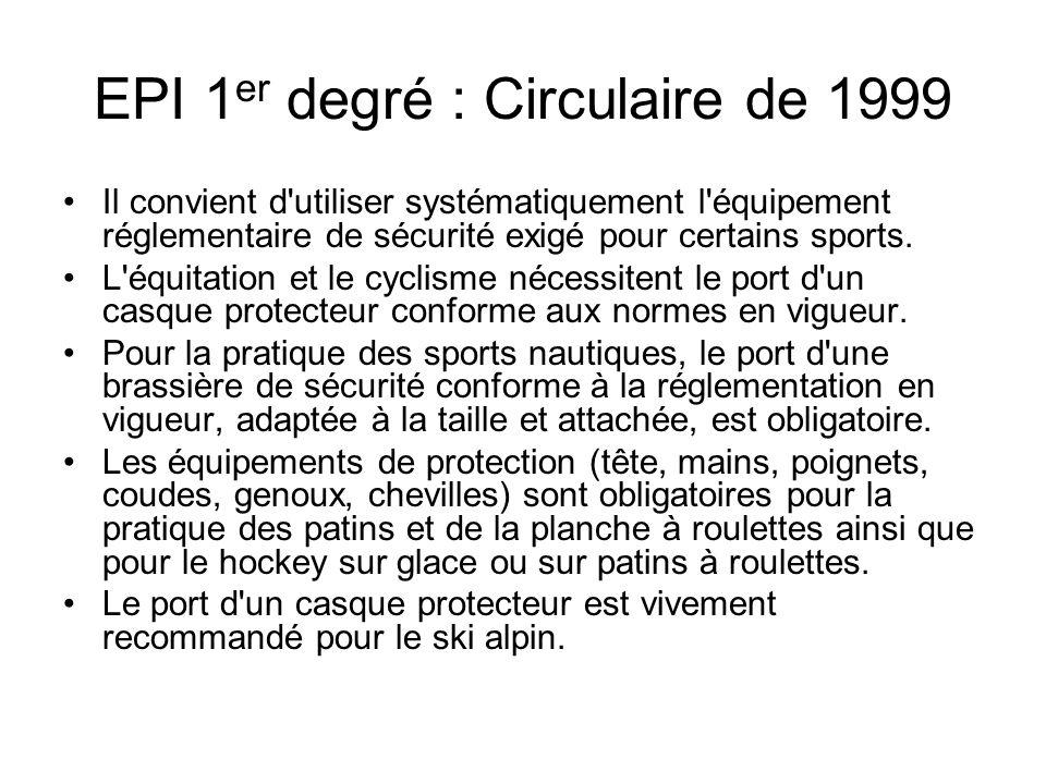 EPI 1er degré : Circulaire de 1999