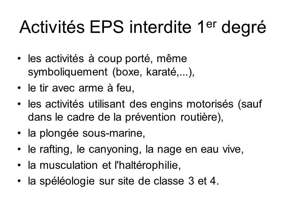 Activités EPS interdite 1er degré