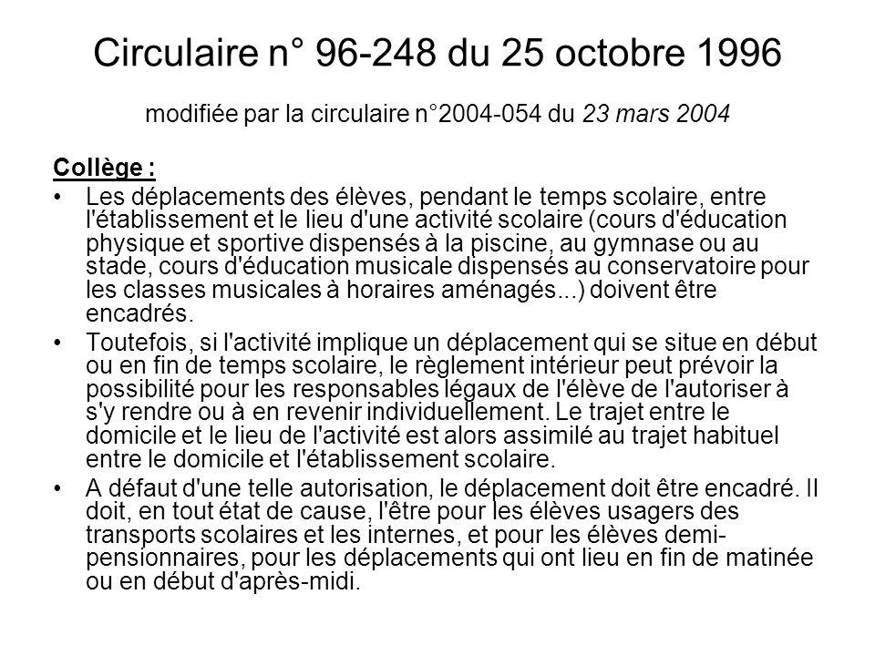 Circulaire n° 96-248 du 25 octobre 1996 modifiée par la circulaire n°2004-054 du 23 mars 2004