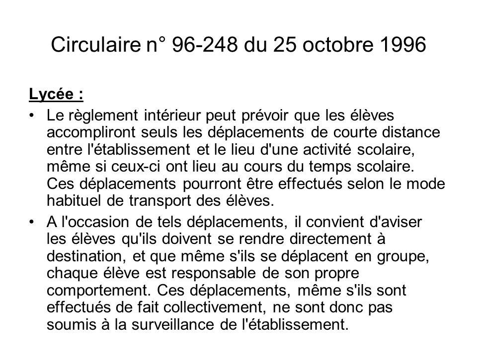Circulaire n° 96-248 du 25 octobre 1996