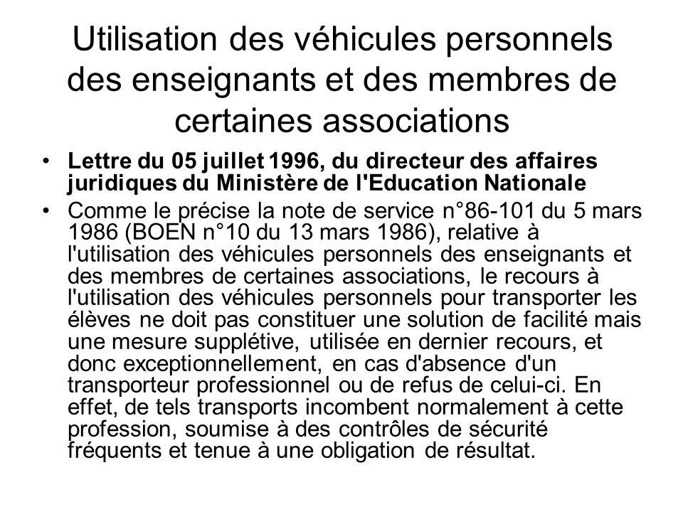 Utilisation des véhicules personnels des enseignants et des membres de certaines associations