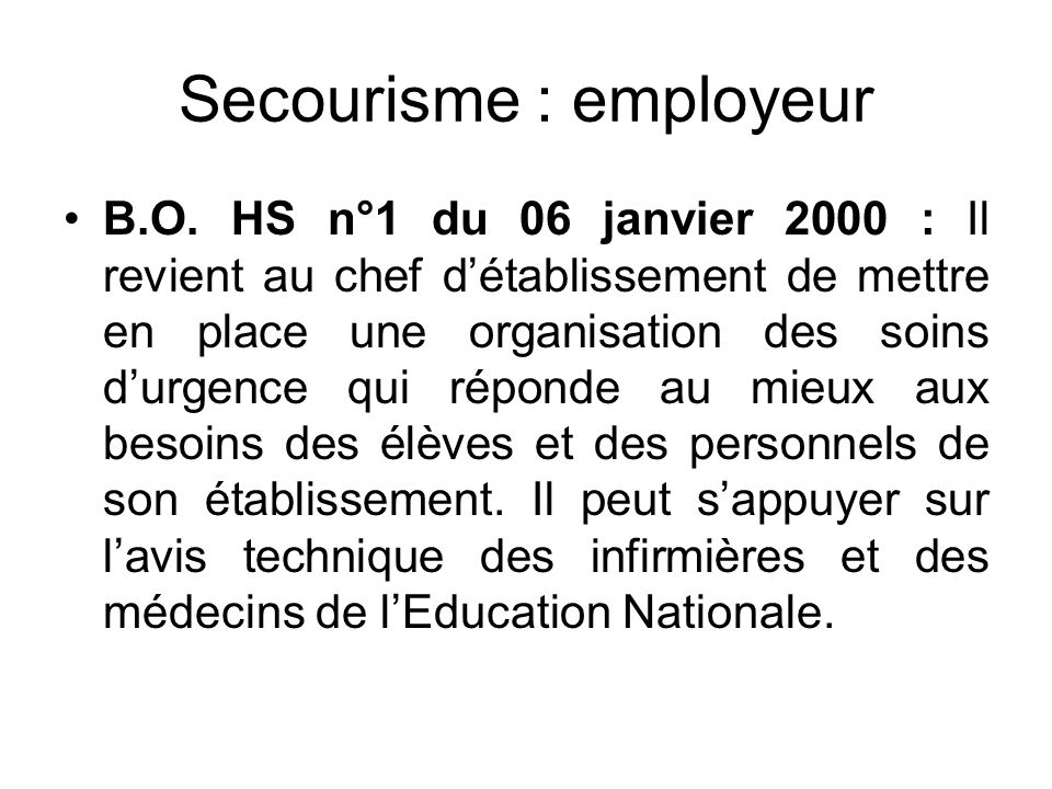 Secourisme : employeur