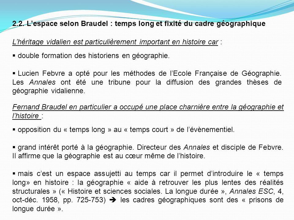 2.2. L'espace selon Braudel : temps long et fixité du cadre géographique