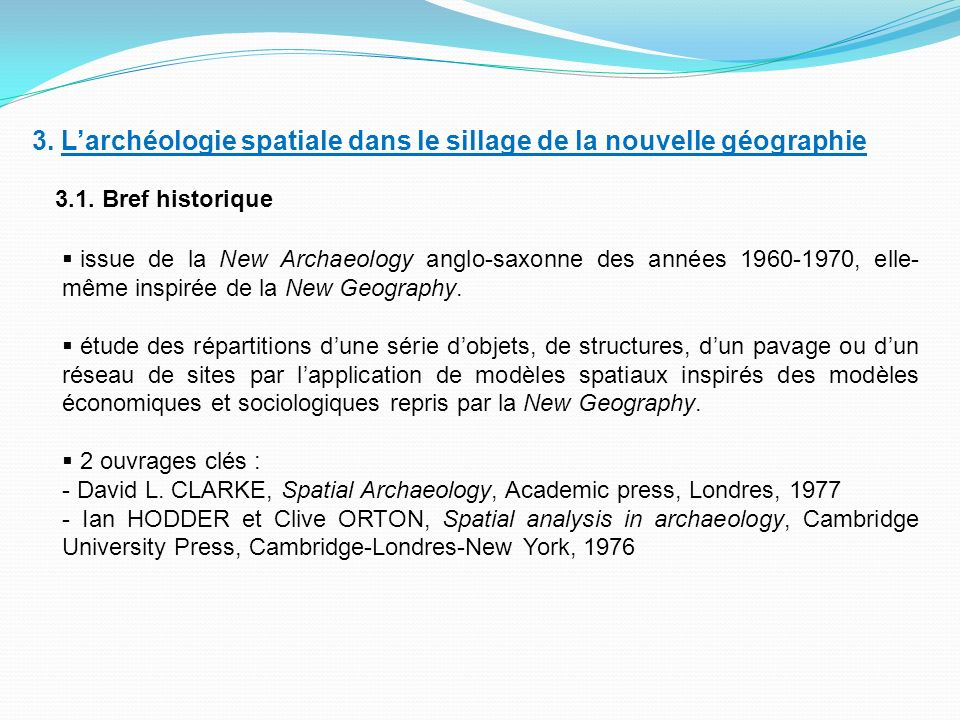 3. L'archéologie spatiale dans le sillage de la nouvelle géographie