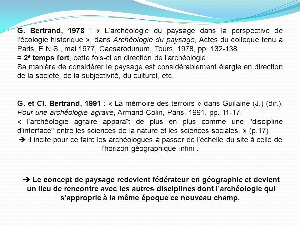 G. Bertrand, 1978 : « L'archéologie du paysage dans la perspective de l'écologie historique », dans Archéologie du paysage, Actes du colloque tenu à Paris, E.N.S., mai 1977, Caesarodunum, Tours, 1978, pp. 132-138.