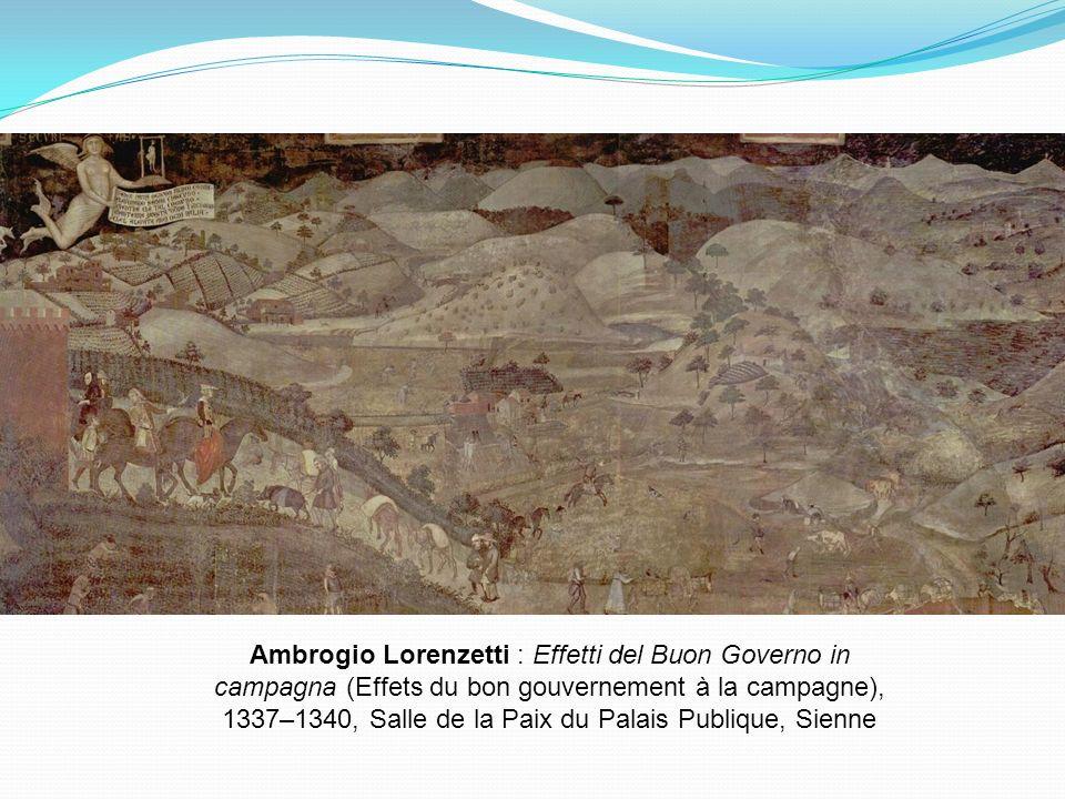 Ambrogio Lorenzetti : Effetti del Buon Governo in campagna (Effets du bon gouvernement à la campagne), 1337–1340, Salle de la Paix du Palais Publique, Sienne