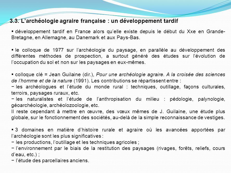 3.3. L'archéologie agraire française : un développement tardif