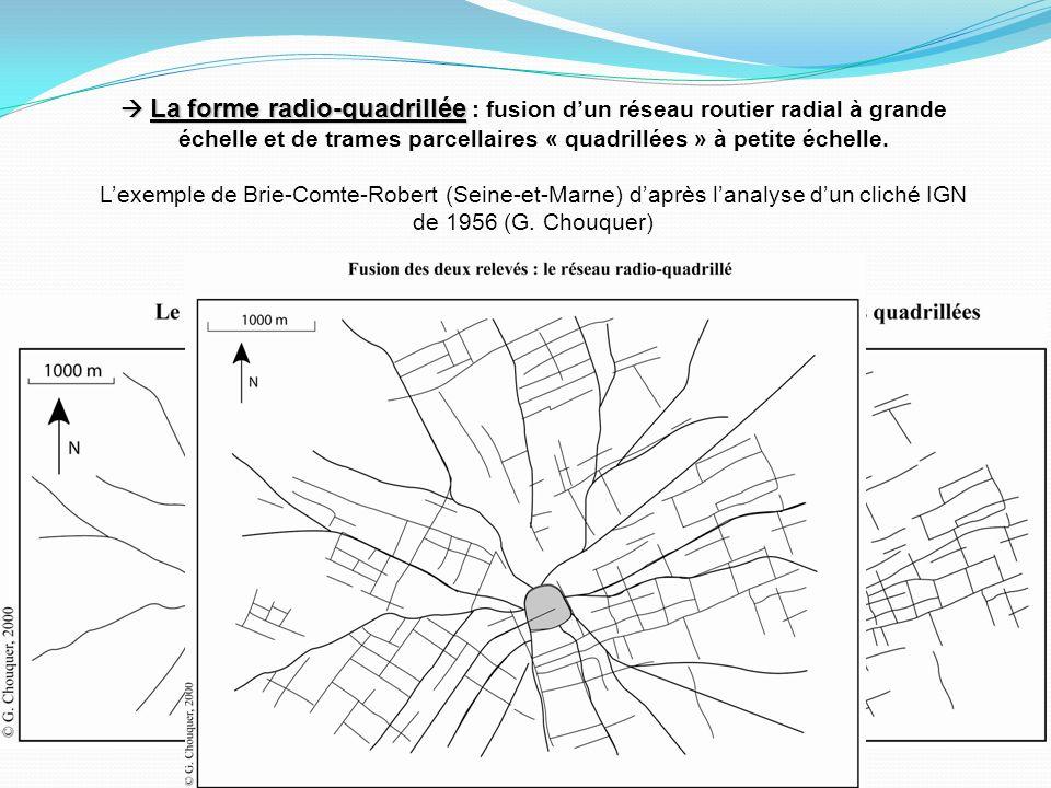  La forme radio-quadrillée : fusion d'un réseau routier radial à grande échelle et de trames parcellaires « quadrillées » à petite échelle.