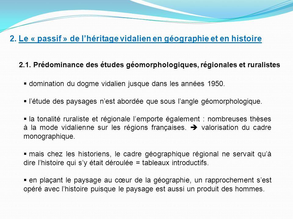 2. Le « passif » de l'héritage vidalien en géographie et en histoire