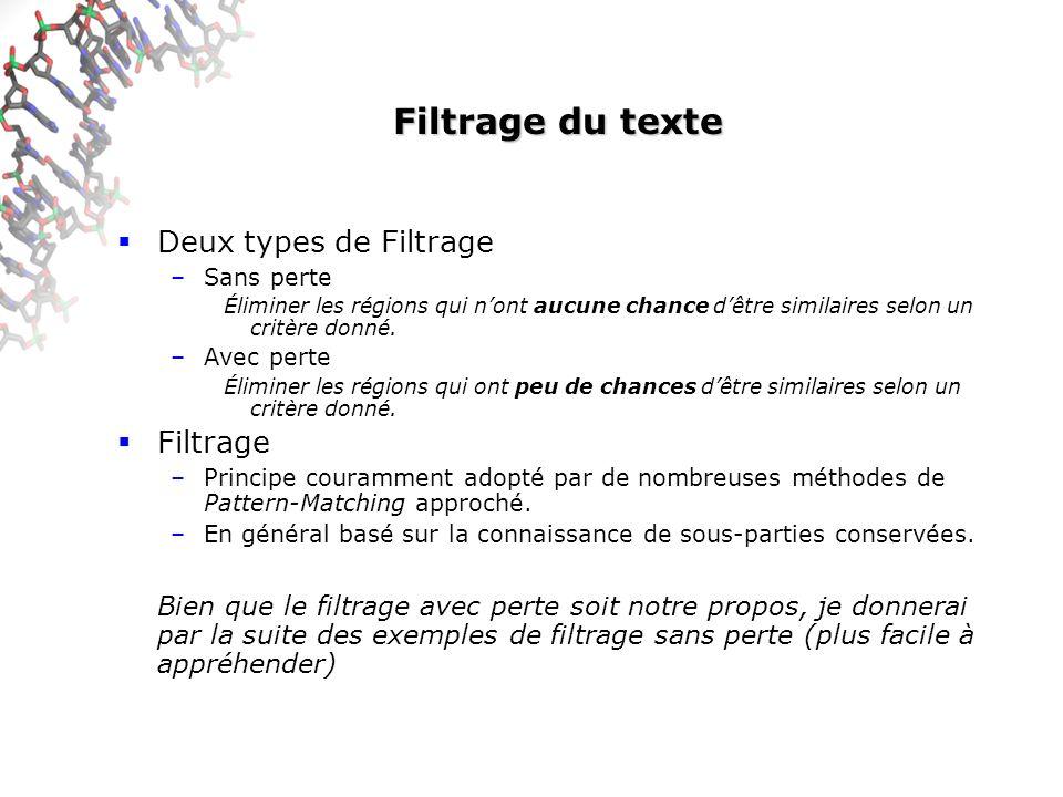 Filtrage du texte Deux types de Filtrage Filtrage