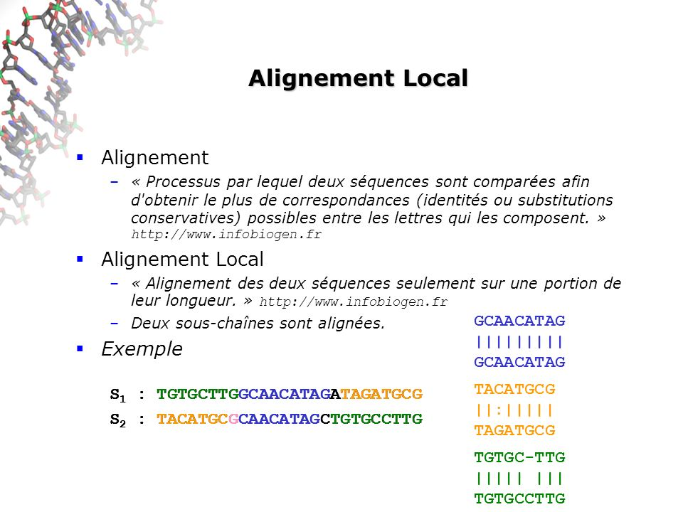Alignement Local Alignement Alignement Local Exemple GCAACATAG