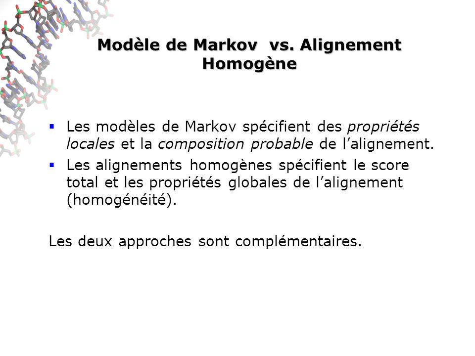 Modèle de Markov vs. Alignement Homogène