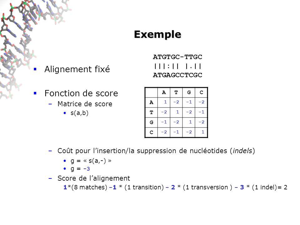 Exemple Alignement fixé Fonction de score ATGTGC-TTGC |||:|| |.||